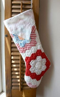 ~ Christmas Stocking from Vintage Quilt