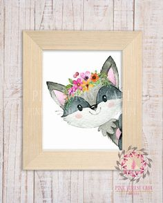 Boho Raccoon Wall Art Print Baby Girl Nursery Printable Watercolor Decor by Pink Forest Cafe. Baby Nursery Decor, Nursery Wall Art, Girl Nursery, Nursery Paintings, Metal Tree Wall Art, Framed Wall Art, Wall Art Prints, Pink Forest, Woodland Decor