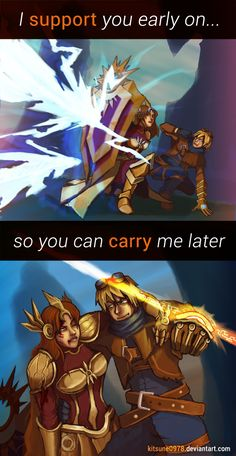 I support you, you carry me - League of Legends by kitsune0978
