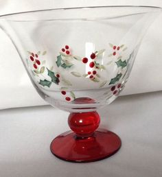 Pfaltzgraff Winterberry Pedestal Dessert Bowl Set of 4 Hand Painted Etched Holly | eBay