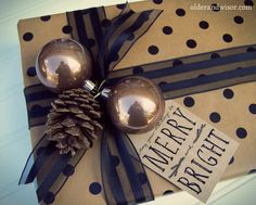 gift wrapping with ornaments ... and many other wrapping ideas shown on this blog.