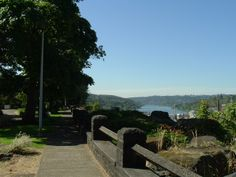 The land for this beautiful walkway was donated to the public by Dr. John McLoughlin. The Promenade was constructed in 1938 through a public works program implemented by President Franklin D. Roosevelt. This Oregon City landmark features period stone work and amazing views. Photo courtesy Jim Row. Oregon City, Stone Work, Roosevelt, Walking Tour, Walkway, The Row, Period, Things To Do, Honey