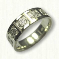 14kt Green Gold Celtic Enfield Cross Wedding Band