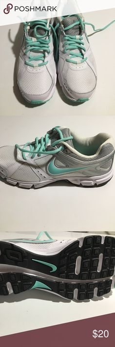 Nike Downshift Teal and White Sneakers New without tags! Never worn. Cute Tiffany blue color. Great for running! Nike Shoes Sneakers