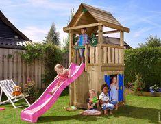 Kids Playhouse ideas Junlge House Playhouse - Wooden kids playhouse for every backyard playground. Playhouse With Slide, Childrens Playhouse, Playhouse Outdoor, Wooden Playhouse, Playhouse Ideas, Jungle House, Jungle Gym, Kids Climbing Frame, Outdoor Play Equipment