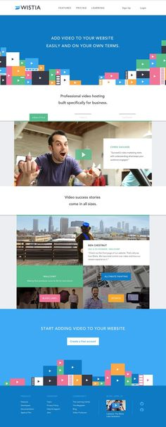 Wistia - Brand Affinity Marketing Software That Helps You Grow Your Brand with Video Clean Web Design, Web Design Tools, Web Design Trends, Web Design Inspiration, Tool Design, Flat Design, Site Design, Marketing Software, Web Layout