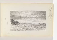 """Tombstone:  Sketchbook Folio, """"Choppy Sea and Cliffs"""", 1890-1900.  1890-1900. Pen and black ink on off-white wove paperSmithsonian. Cooper-Hewitt, National Design Museum  (for a backdrop, would  be printed on water colour paper and painted)"""