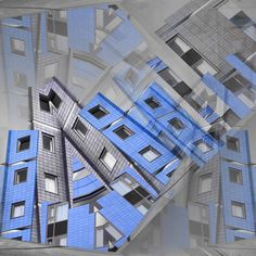 Abstract Art Galleries - City Scape Blue by Guildford Surrey Artist