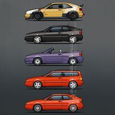 Stack of VW Corrados - VR6, G60, #Volkswagen #VW #VDub by Monkey Crisis On Mars | Redbubble