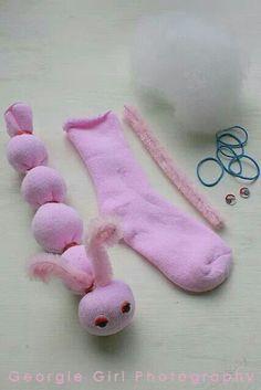 Cute sock caterpillar craft for kids