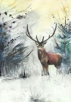 deer, snow, forest - Annamária Urbán