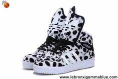 Low Price Adidas X Jeremy Scott Winter Big Tongue Shoes Leopard White Fashion Shoes Shop