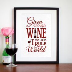 Given Enough Wine I Could Rule the World (C) ANGIE FREESE #wine #quote #winequote #poster
