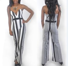 Find More Jumpsuits & Rompers Information about women jumpsuits with black white vertical stripes boot cut nightclub V neck  wholesale free shipping YY002,High Quality jumpsuit women,China jumpsuit sexy Suppliers, Cheap jumpsuit dress from Perfect `Queen on Aliexpress.com