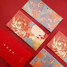 gift design Chinese New Year, Chinese Wedding Red Packets, Money Envelopes with Chinese Koi Fish, Fancy Carp, Box Set (Set of Chinese Red Envelope, Chinese New Year Design, Chinese New Year Card, Chinese New Years, Japanese New Year, Red Packet, Money Envelopes, New Year Designs, Envelope Design