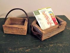 Small wooden boxes with leather handles  Primitive  by wonderdiva, $25.00