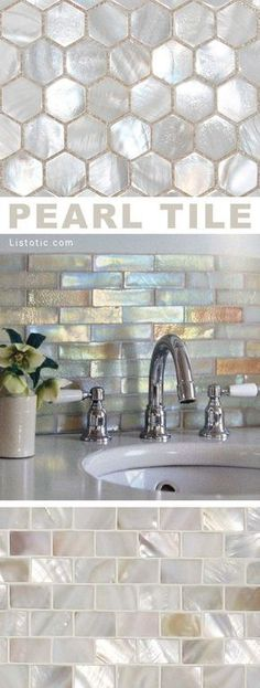 I LOVE pearl tile! Lots of gorgeous tile ideas for kitchen back splashes, master. - I LOVE pearl tile! Lots of gorgeous tile ideas for kitchen back splashes, master bathrooms, small b - Home Renovation, Home Remodeling, Bathroom Renovations, Kitchen Remodeling, Cheap Home Decor, Diy Home Decor, Home Decor Items, Kitchen Decorating, Decorating Bathrooms
