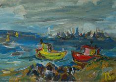 Baltic sea and ships - Tetyana Snezhyk painting