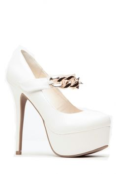 Faux Leather White Almond Toe Gold Chain Pumps @ Cicihot Heel Shoes online store sales:Stiletto Heel Shoes,High Heel Pumps,Womens High Heel Shoes,Prom Shoes,Summer Shoes,Spring Shoes,Spool Heel,Womens Dress Shoes
