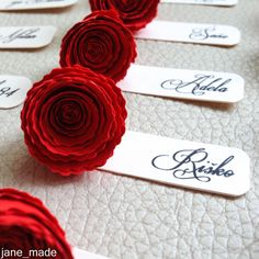 Rose Wedding name table tags, Wedding Table Decor, Paper rose table escort card, Elegant place name tag, Rose Wedding Favor, Red Rose Card