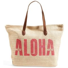 Junior Women's Rip Curl 'Aloha' Beach Bag ($48) ❤ liked on Polyvore featuring bags, handbags, purses, bolsas, beach bags, accessories, white hand bags, hand bags, man bag and beach bag