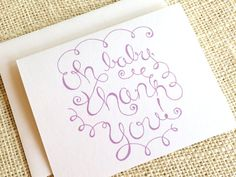 Set of 10 Thank You Cards for Baby Girl - Cute Simple Pink or Purple Baby Shower Thank You Notes - H Baby Thank You Cards, Baby Shower Thank You, Thank You Notes, Baby Shower Purple, Purple Baby, Happy Design, Teacher Quotes, Keep It Simple, New Baby Gifts