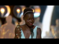 """Christoph Waltz presenting Lupita Nyong'o with the Oscar® for Best Supporting Actress for her performance in Years a Slave"""" at the Oscars® in Oscar Speech, The English Patient, Lupita Nyongo, 12 Years A Slave, Acceptance Speech, Film Score, Matthew Mcconaughey, Red Carpet Looks, Fotografia"""