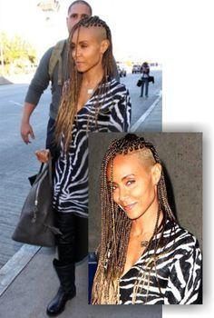 Jada Pinkett Smith With Shaved Side And Blonde Braids http://www.blackhairinformation.com/general-articles/jada-pinkett-smith-shaved-side-blonde-braids/