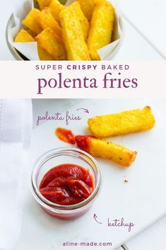Have you ever made polenta from scratch and didn't know what to do with the leftover? Then it's a must to know this recipe for crispy polenta fries baked in the oven. Healthy, simple, and delicious polenta chips. Crispy Polenta, Baked Polenta, Polenta Fries, Polenta Recipes, Savoury Recipes, Clean Eating Vegetarian, Vegetarian Recipes Easy, Clean Eating Recipes, Cooking Recipes