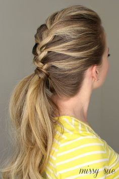 This pretty braided pony is great for a day at the office or hitting the gym, especially when you're rocking day-two hair.