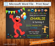 Elmo Invitation, Sesame Street Invitation, Editable Microsoft Word file, DIY Word Template, Instant Download, Digital File by SuperFunnyParty on Etsy https://www.etsy.com/listing/520631572/elmo-invitation-sesame-street-invitation