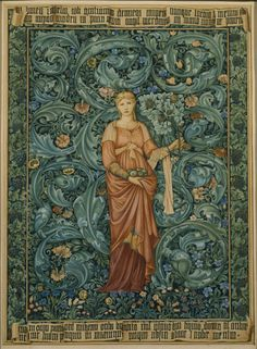 'Pomona' tapestry design, with figure by Edward Burne-Jones and background by William Morris, at Wigthwick Manor. ©NTPL/Derrick E. Very obviously a Burne-Jones face on the figure. William Morris Art, Edward Burne Jones, Medieval Tapestry, Art And Craft Design, Tapestry Design, Pre Raphaelite, Arts And Crafts Movement, Tapestry Weaving, Art History