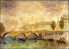 Paris, Bridge over the Seine -  original watercolor painting by Juan Bosco of sanmartin-artscrafts.com