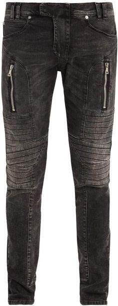 BALMAIN Mid-rise skinny biker jeans Skinny Biker Jeans, Slim Jeans, Grunge Fashion, Cotton, Pants, Fashion Tips, Fashion Hacks, Trousers