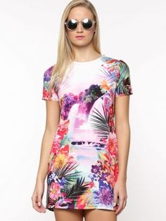54cf3253b8a Lipsy Waterfall Print T-Shirt Dress from koovs.com in india Western Girl  Outfits