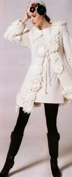 Abrigo-Chaqueta Blanco con Apliques Patron - Patrones Crochet