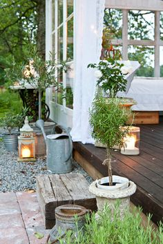 lanterns on patio light the way