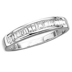 14K White Gold Baguette Cut Diamond Channel Set Wedding Band Ring
