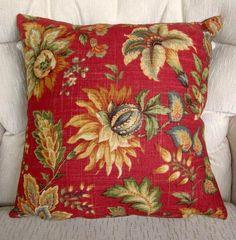 Blood Orange Jacquard Decorative Throw Pillow by ainthatastitch, $35.00