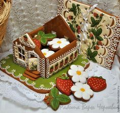 """Love this idea - a gingerbread house """"box"""" filled with iced biscuits. Christmas Cookies Gift, Christmas Gingerbread House, Gingerbread Man, Christmas Desserts, Christmas Baking, Gingerbread Cookies, Christmas Goodies, Cookie House, Cookie Box"""