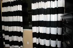 Tutorial for painted stripe curtains with freezer paper! SOOO Easy with no bleeds!