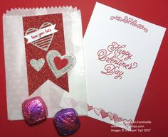 A Valentine Mini Treat Bag For a Valentine Treat made with the Sending Love Glassine Sheets and Mini Treat Bag Thinlits Dies. https://www.stampinup.com/ecweb/ProductDetails.aspx?productID=142734&dbwsdemoid=54345