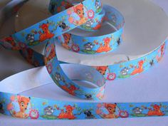 """Bambi Grosgrain 5 yards Blue 7/8"""" Ribbon of Bambi Flower and Thumper Ribbon with Butterflies Deer Rabbit Skunk Disney Birthday Party Nursery by HouseofHairDecor on Etsy"""