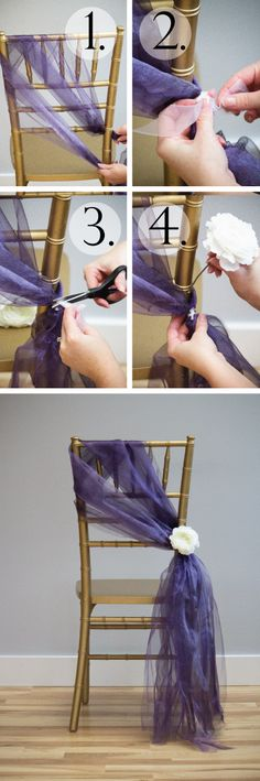 Tutorial: 6 Chair Sashes Created With Organza Rolls Wedding Chair Decorations, Wedding Chairs, Wedding Table, Our Wedding, Dream Wedding, Chair Ties, Chair Sashes, Diy Wedding Magazine, Event Planning