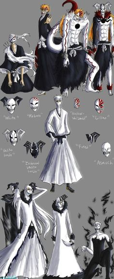 """I have no name"" ""White"" ""Hollow Ichigo"" ""Hichigo Shirosaki"" ""Ogihci"" ""Vaizard"" ""Vasto Lorde"" ""Hollow Mask"" ""Inner Hollow"" ""Asauchi"" 