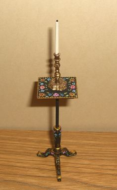 Dollhouse Miniature Hand Painted Floral Candlestand 1:12 L.Lassige in Dolls & Bears, Dollhouse Miniatures, Artist Offerings | eBay