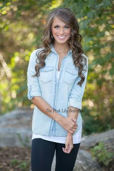 Light Chambray Button Up Blouse