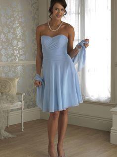 2015 A-line Sky Blue Short Chiffon Floor Length Bridesmaid Dress Alexia