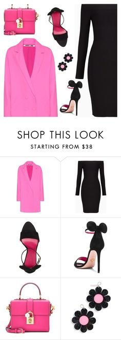 """Pink and Black"" by wolfiexo ❤ liked on Polyvore featuring McQ by Alexander McQueen, BCBGMAXAZRIA, Oscar Tiye, Dolce&Gabbana and Marina Fini"