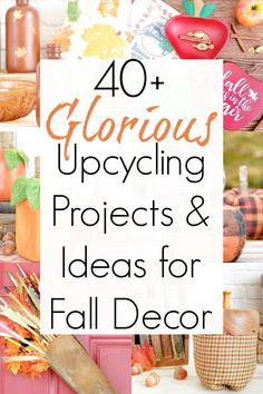 Pumpkins and acorns and apples- OH, MY! It's that time of year again...FALL. And these upcycling projects for fall decor will DEFINITELY put you in the autumn mood. #falldecorideas #fallcrafts #autumncrafts #autumndecor #falldecorations #upcycledcrafts #repurposing #pumpkincrafts #pumpkindecor #diyfalldecor #diyfall Upcycling Projects, Cool Diy Projects, Craft Projects, Thanksgiving Crafts, Thanksgiving Decorations, Fall Crafts, Upcycled Crafts, Repurposed, Vintage Decor